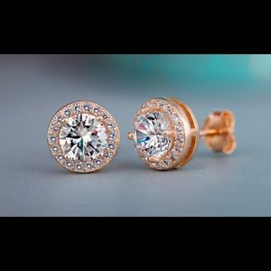 3.4 CTTW Rose Gold Halo Earrings